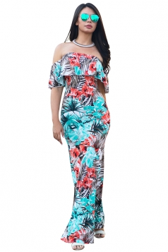 Women Sexy Off Shoulder Ruffle Flower Printed Maxi Dress Light Blue