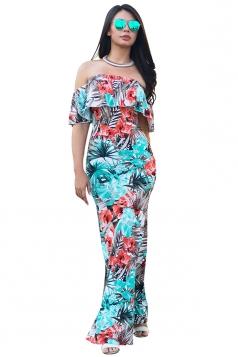 Women Sexy Off Shoulder Ruffle Flower Printed Maxi Dress Light Blue