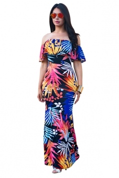 Women Sexy Off Shoulder Ruffle Flower Printed Maxi Dress Sapphire Blue