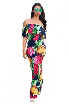 Women Sexy Off Shoulder Ruffle Flower Printed Maxi Dress Navy Blue