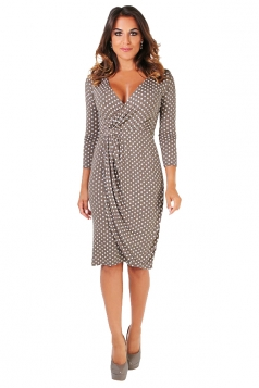Vintage Polka Dots Deep V Pleated Midi Bodycon Dress Coffee