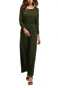Women Crew Neck Long Sleeve Elastic Waist Plain Maxi Dress Army Green