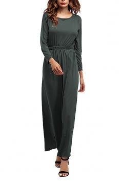 Women Crew Neck Long Sleeve Elastic Waist Plain Maxi Dress Gray