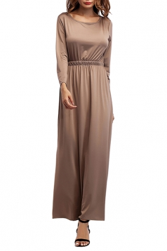 Women Crew Neck Long Sleeve Elastic Waist Plain Maxi Dress Khaki