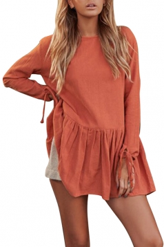 Women Casual Long Sleeve Pleated Hem Shirt Dress Orange