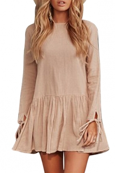 Women Casual Long Sleeve Pleated Hem Shirt Dress Khaki