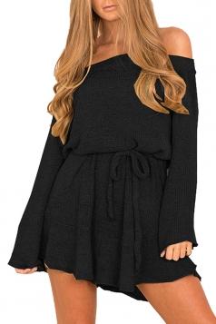 Women Off Shoulder Long Sleeve Drawstring Thick Sweater Dress Black