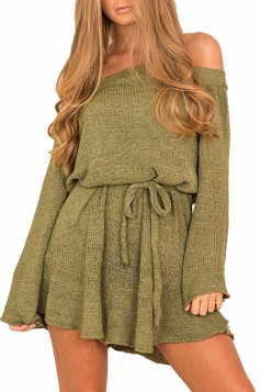 Women Off Shoulder Long Sleeve Drawstring Thick Sweater Dress Green