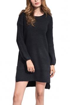 Women High Low Plain Side Slits Knit Sweater Dress Black