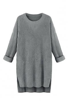 Women High Low Plain Side Slits Knit Sweater Dress Gray