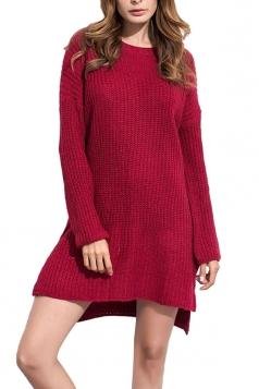 Women High Low Plain Side Slits Knit Sweater Dress Ruby
