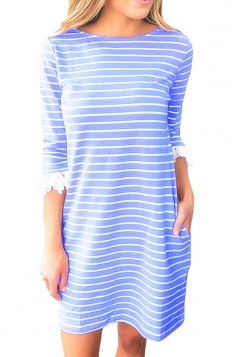 Women Casual Crew Neck 3/4 Sleeve Stripe Shirt Dress Blue