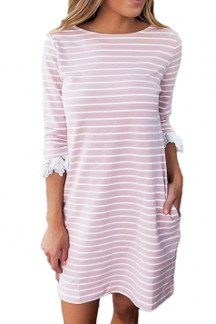 Women Casual Crew Neck 3/4 Sleeve Stripe Shirt Dress Light Pink