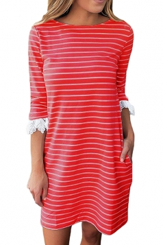 Women Casual Crew Neck 3/4 Sleeve Stripe Shirt Dress Red