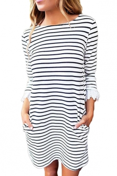 Women Casual Crew Neck 3/4 Sleeve Stripe Shirt Dress White