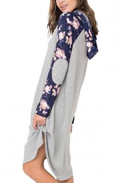 Floral Printed Raglan Sleeve Drawstring Hoodied Shirt Dress Blue