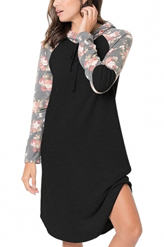 Floral Printed Raglan Sleeve Drawstring Hoodied Shirt Dress Black