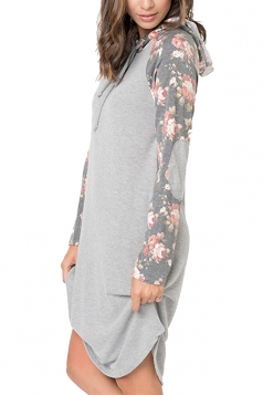 Floral Printed Raglan Sleeve Drawstring Hoodied Shirt Dress Gray