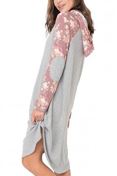 Floral Printed Raglan Sleeve Drawstring Hoodied Shirt Dress Pink