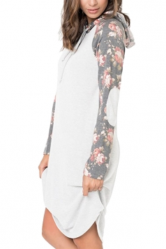 Floral Printed Raglan Sleeve Drawstring Hoodied Shirt Dress White