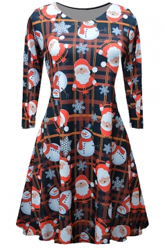 Women Long Sleeve Santa Printed Christmas Skater Dress Orange