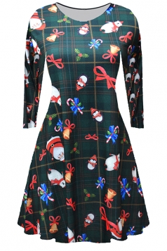 Women Long Sleeve Santa And Snowman Printed Christmas Skater Dress Gray