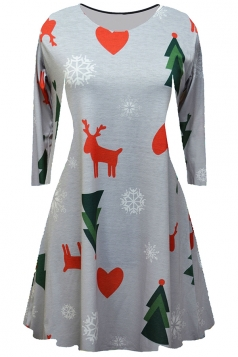 Women Long Sleeve Reindeer Printed Christmas Skater Dress Gray