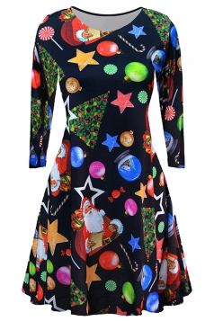 Women Long Sleeve Santa Printed Christmas Skater Dress Multicolor