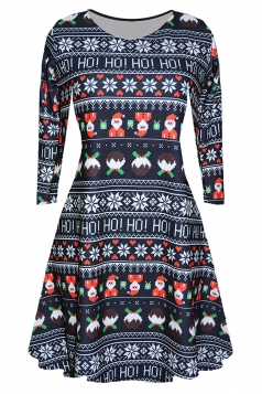 Women Long Sleeve Santa Printed Christmas Skater Dress Navy Blue