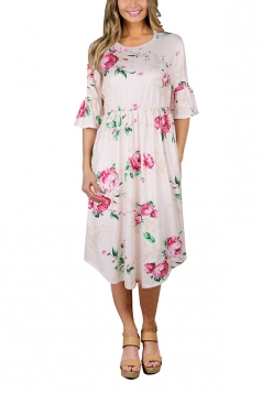 Women Crew Neck Flare Sleeve Floral Printed Midi Dress Light Pink