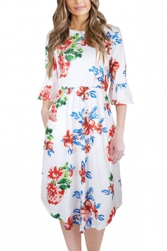 Women Crew Neck Flare Sleeve Floral Printed Midi Dress White