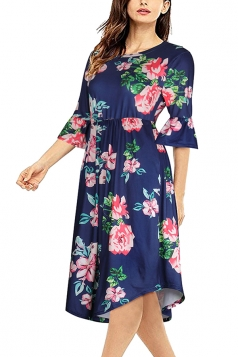 Women Crew Neck Flare Sleeve Floral Printed Midi Dress Navy Blue