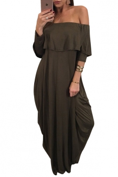 Womens Sexy Off Shoulder Ruffle Long Sleeve Maxi Dress Army Green