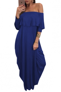 Womens Sexy Off Shoulder Ruffle Long Sleeve Maxi Dress Blue