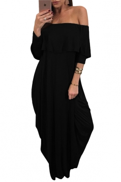 Womens Sexy Off Shoulder Ruffle Long Sleeve Maxi Dress Black