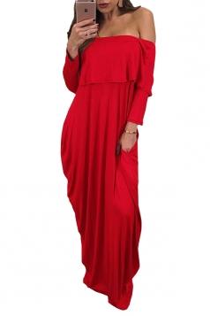 Womens Sexy Off Shoulder Ruffle Long Sleeve Maxi Dress Ruby