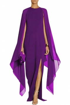 Purple Elegant Chiffon Patchwork Batwing Sleeve Slit Evening Dress