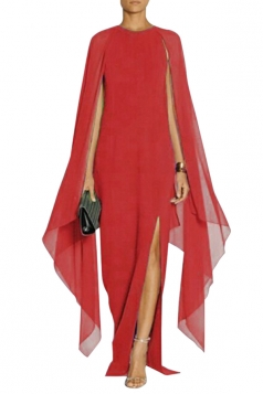 Red Elegant Chiffon Patchwork Batwing Sleeve Slit Maxi Evening Dress