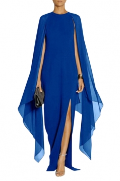 Sapphire Blue Elegant Chiffon Patchwork Batwing Sleeve Evening Dress