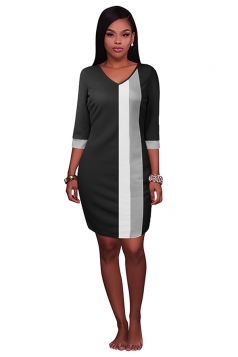 Womens V Neck Color Block Patchwork 3/4 Sleeve Shift Dress Black