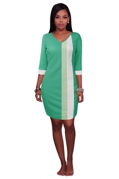 Womens V Neck Color Block Patchwork 3/4 Sleeve Shift Dress Light Green