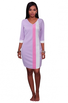 Womens V Neck Color Block Patchwork 3/4 Sleeve Shift Dress Light Purple