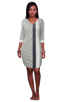 Womens V Neck Color Block Patchwork 3/4 Sleeve Shift Dress Light Gray