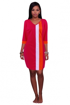 Womens Color Block Patchwork 3/4 Sleeve Shift Dress Watermelon Red