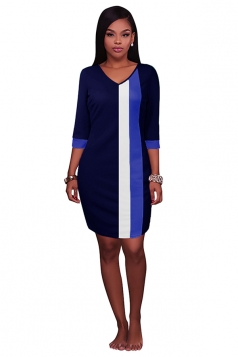 Womens V Neck Color Block Patchwork 3/4 Sleeve Shift Dress Navy Blue