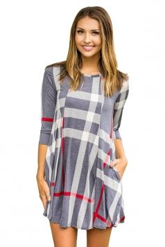 Womens Crew Neck 3/4 Sleeve Plaid Shirt Dress Gray
