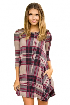 Womens Crew Neck 3/4 Sleeve Plaid Shirt Dress Purple