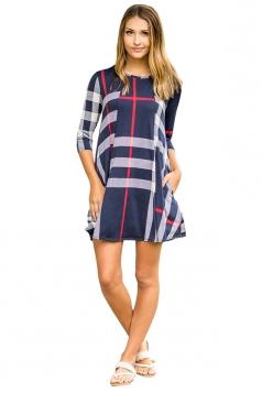 Womens Crew Neck 3/4 Sleeve Plaid Shirt Dress Navy Blue