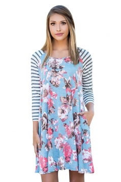 Womens Raglan Sleeve Stripe Floral Printed Shirt Dress Light Blue
