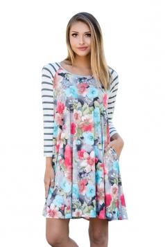 Womens Raglan Sleeve Stripe Floral Printed Shirt Dress Multicolor